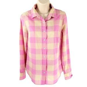J Crew Perfect Boy Shirt Maxi Check Pink Cotton